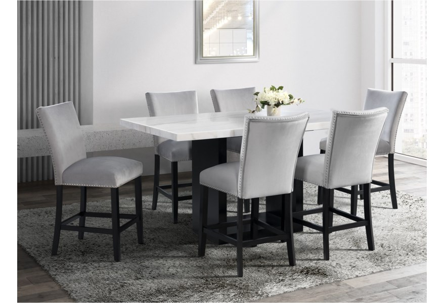 Valentino Contemporary 7 Piece Dining Set Dream Home Interiors Dining 7 Or More Piece Sets