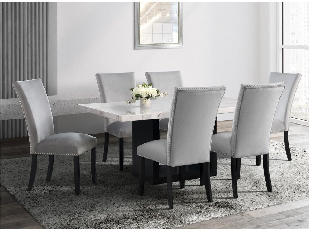 Elements International ValentinoDining Table & 6 Upholstered Side Chairs