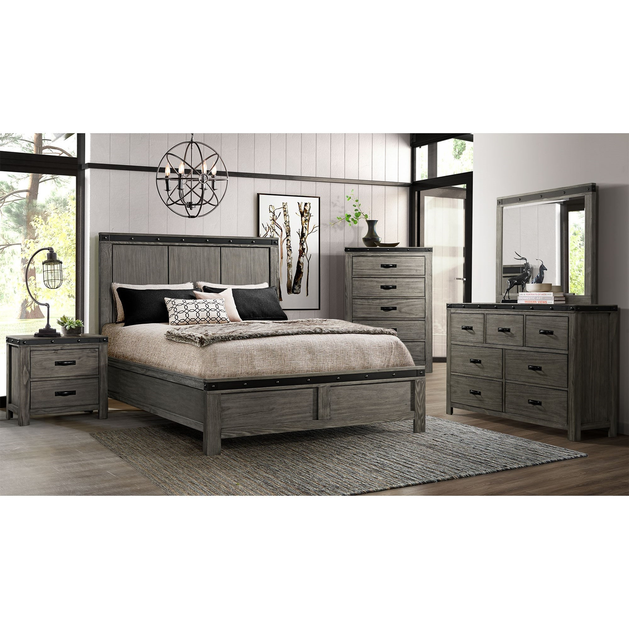 Elements Wade Contemporary King Panel 5 Piece Bedroom Set Royal Furniture Bedroom Groups