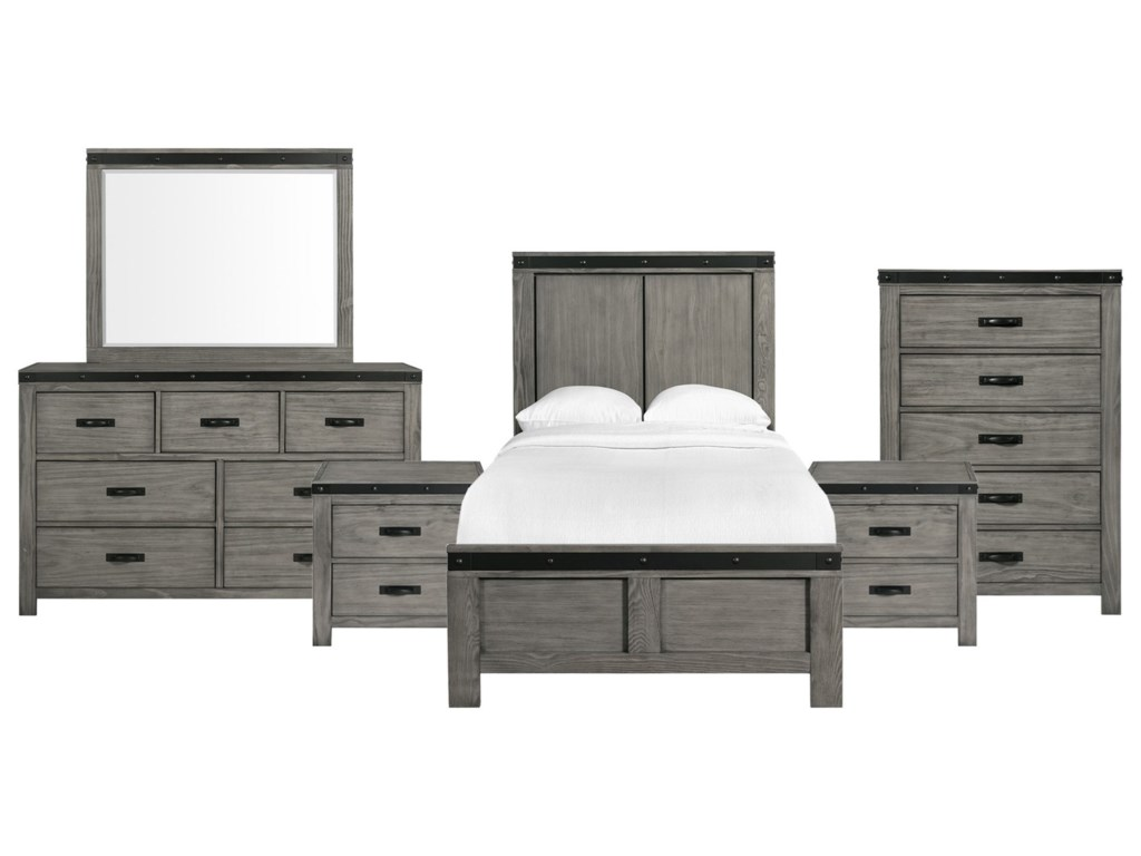 Elements Wade Contemporary Twin Panel 6 Piece Bedroom Set Royal Furniture Bedroom Groups