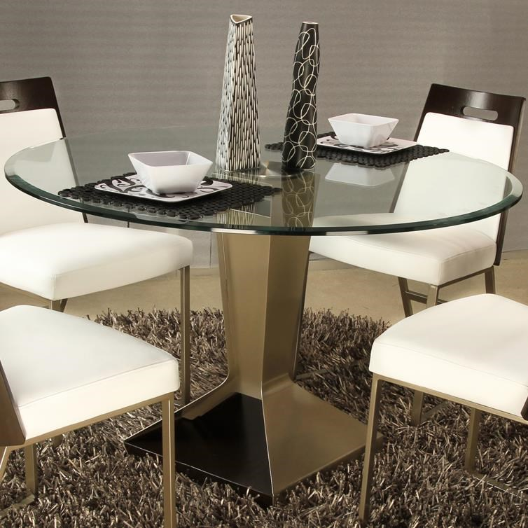 Elite Modern Beacon 42 Round Pedestal Dining Table With Glass Top