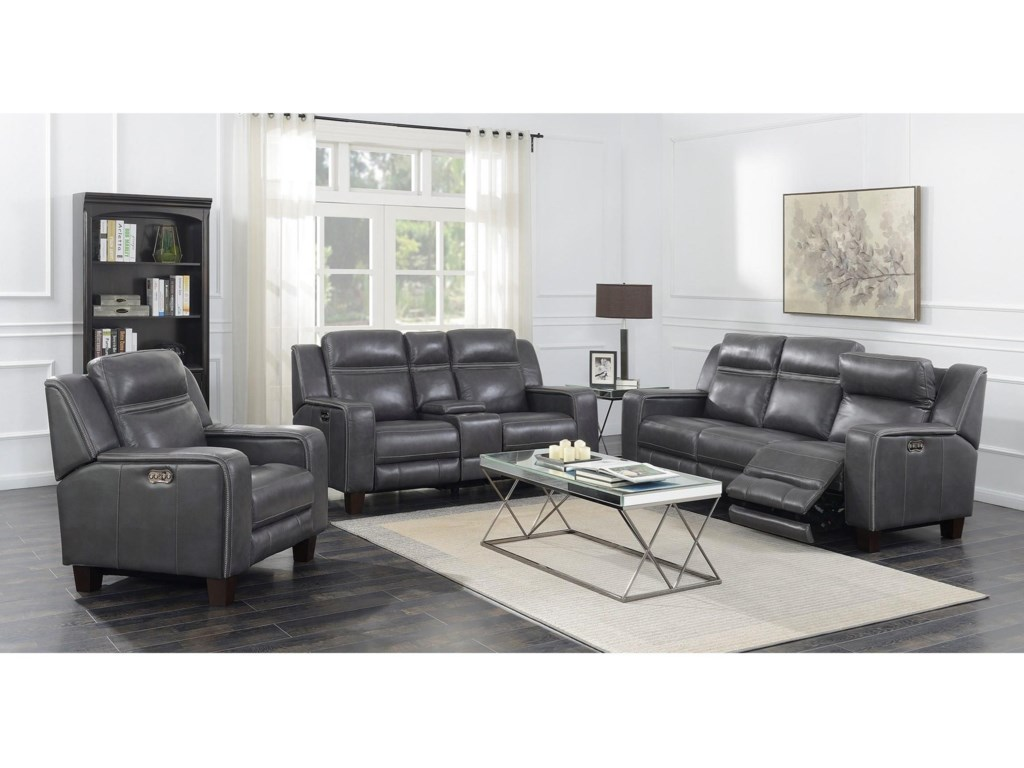 Emerald BeckettPower Console Loveseat W/2 Power Headrests