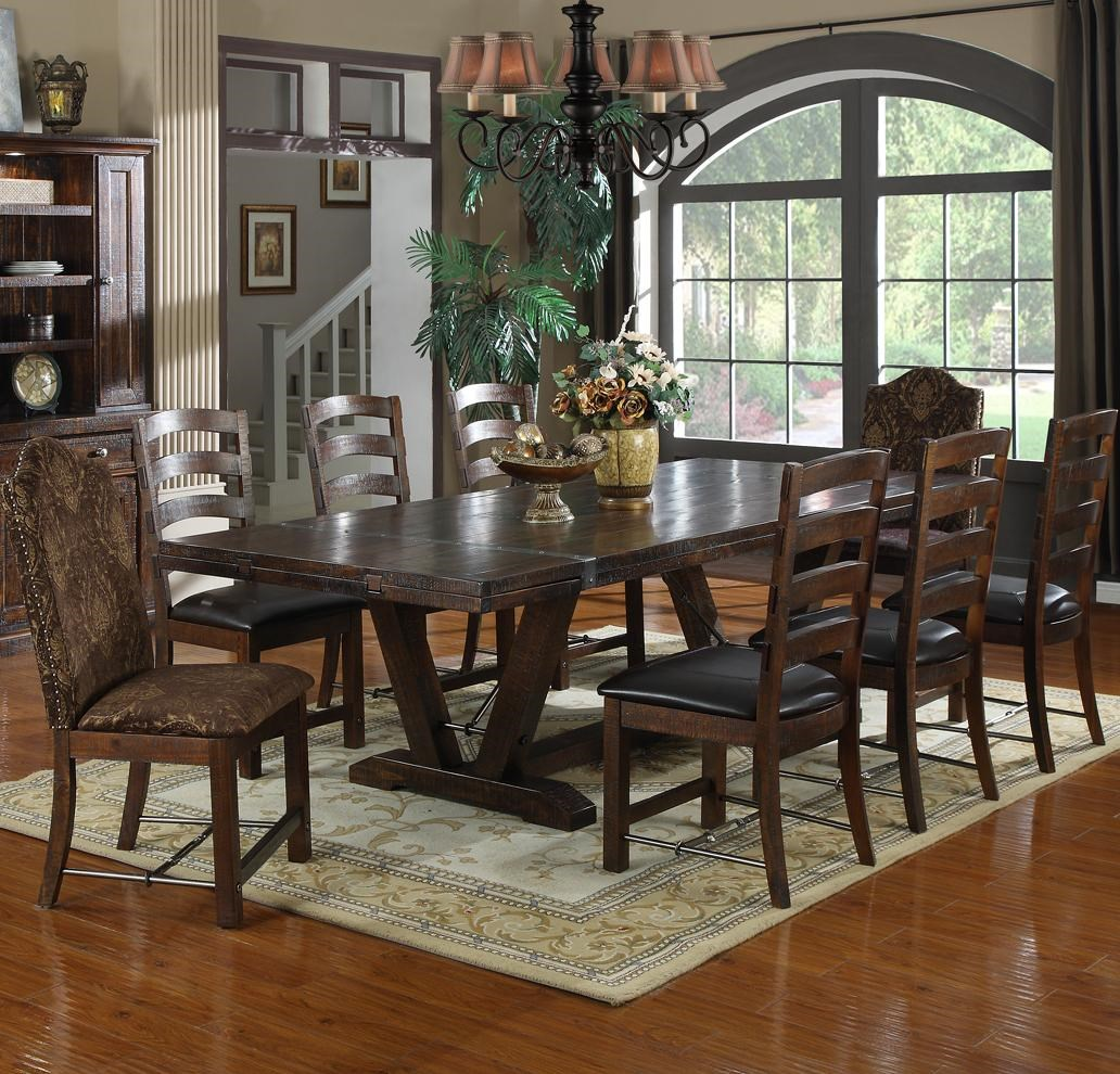 9 Piece Trestle Table Set