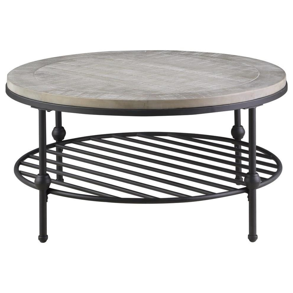 """Vintage 36"""" Round Cocktail Table with Metal Base"""