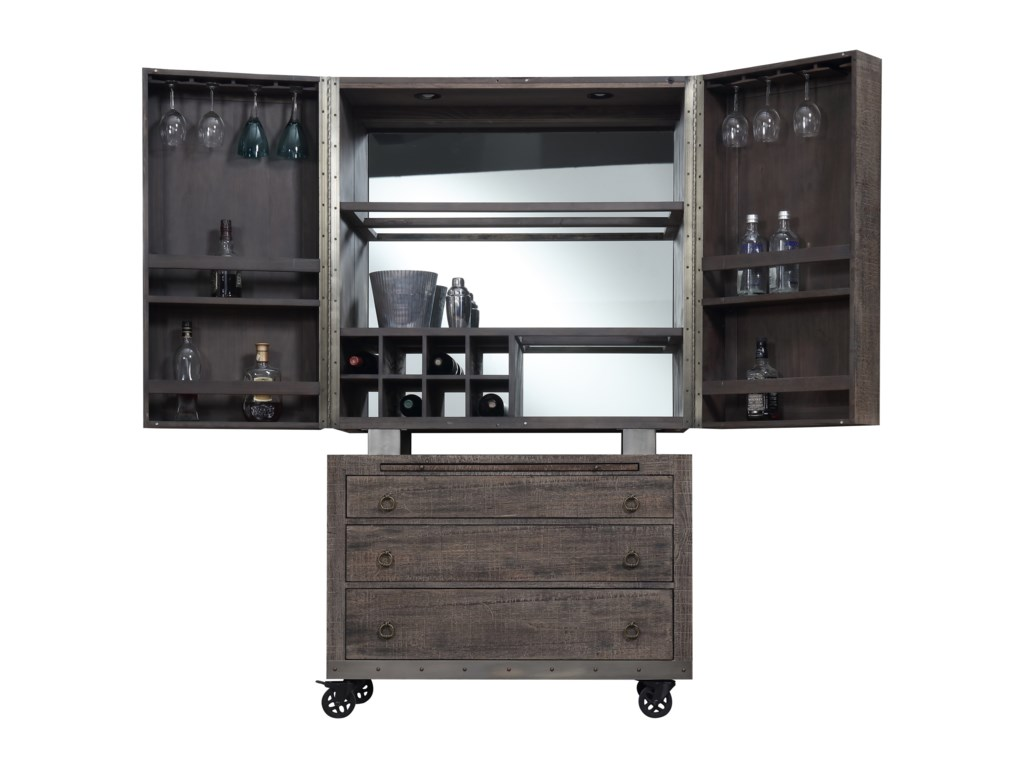 Emerald DakotaBar Cabinet with Casters