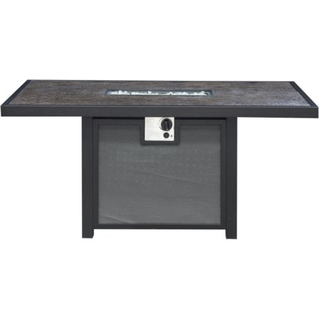 Rectangular Fire Pit Cocktail Table