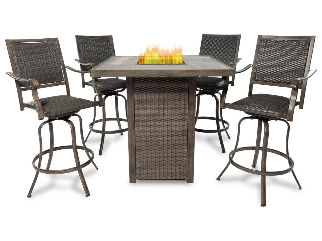 Emerald Flame5PC Outdoor Firepit Table Set