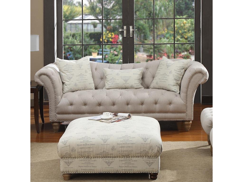 Emerald Hutton Fabric Upholstery Seriesnailhead Sofa W 2 Pillows Kidney Pillow