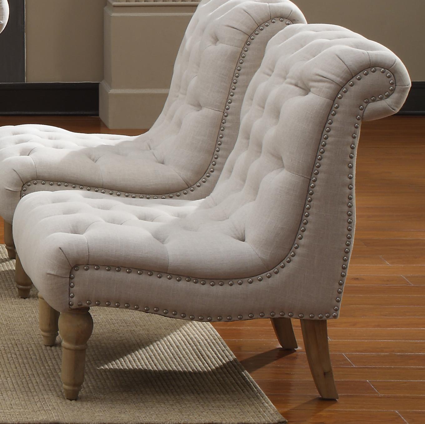 Merveilleux Emerald Hutton Fabric Upholstery Series Linen Look Nailhead Armless Accent  Chair