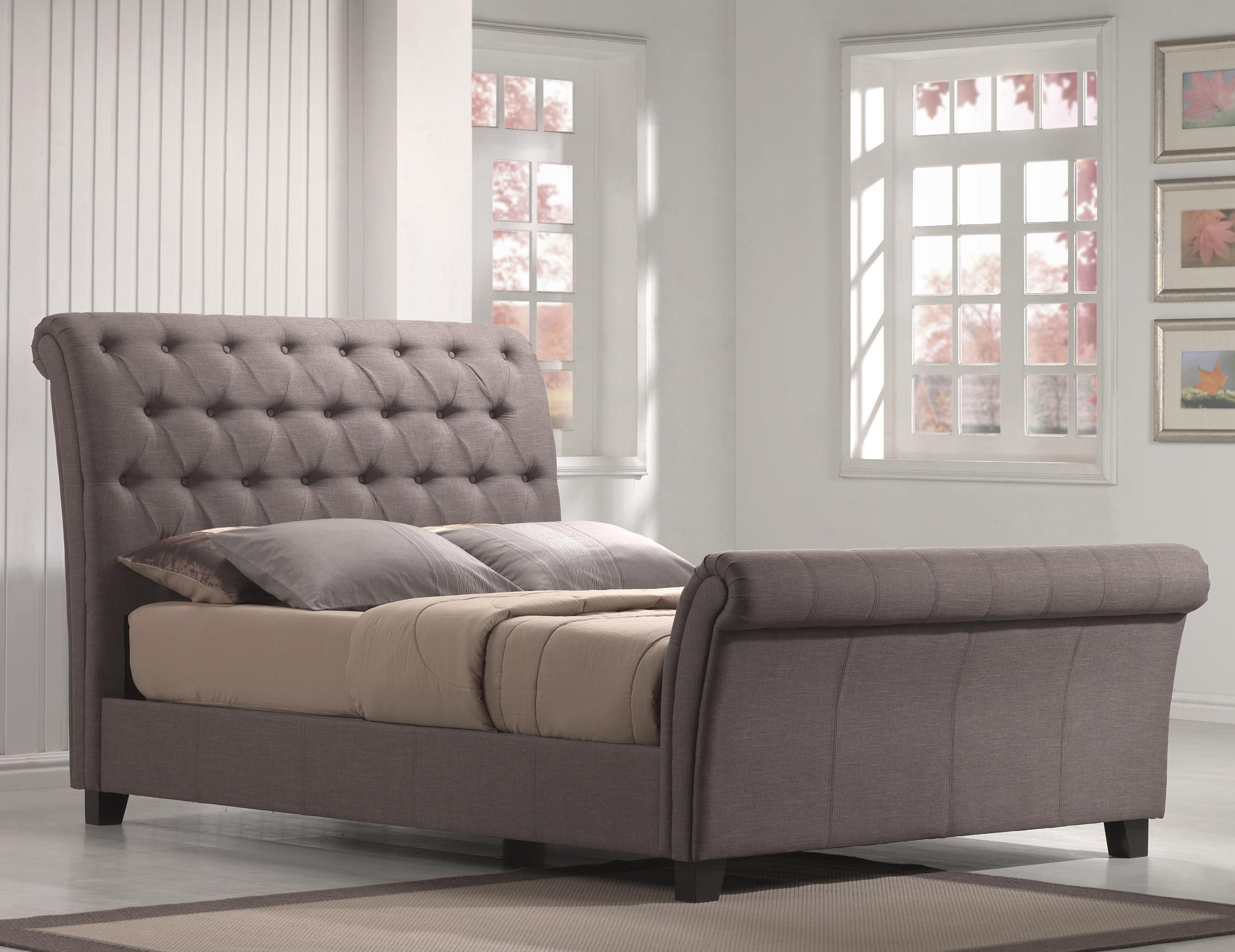 emerald innsbruck king button tufted upholstered sleigh bed - King Sleigh Bed