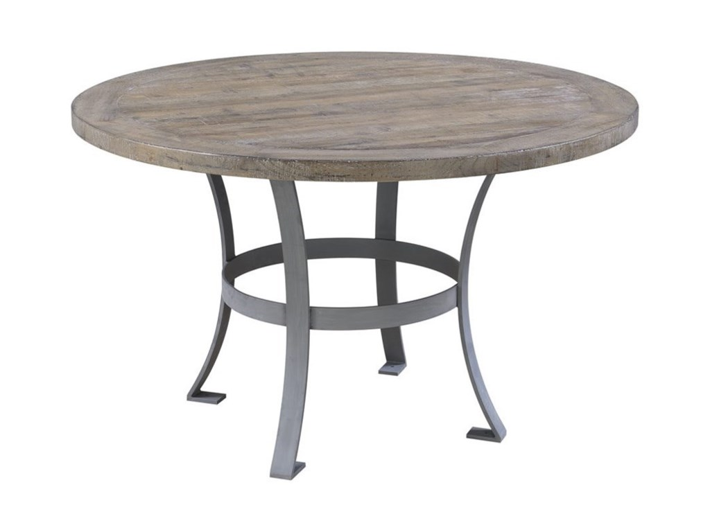 Emerald interlude round dining table with metal base and rustic charm
