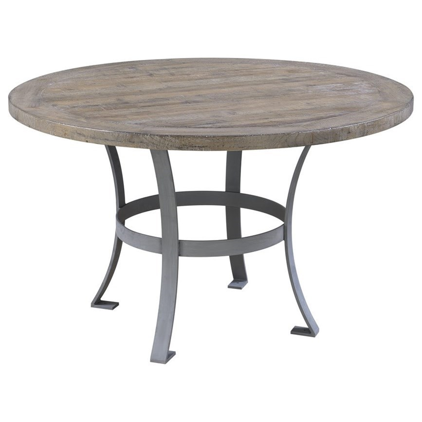 Merveilleux Emerald Interlude Round Dining Table With Metal Base And Rustic Charm