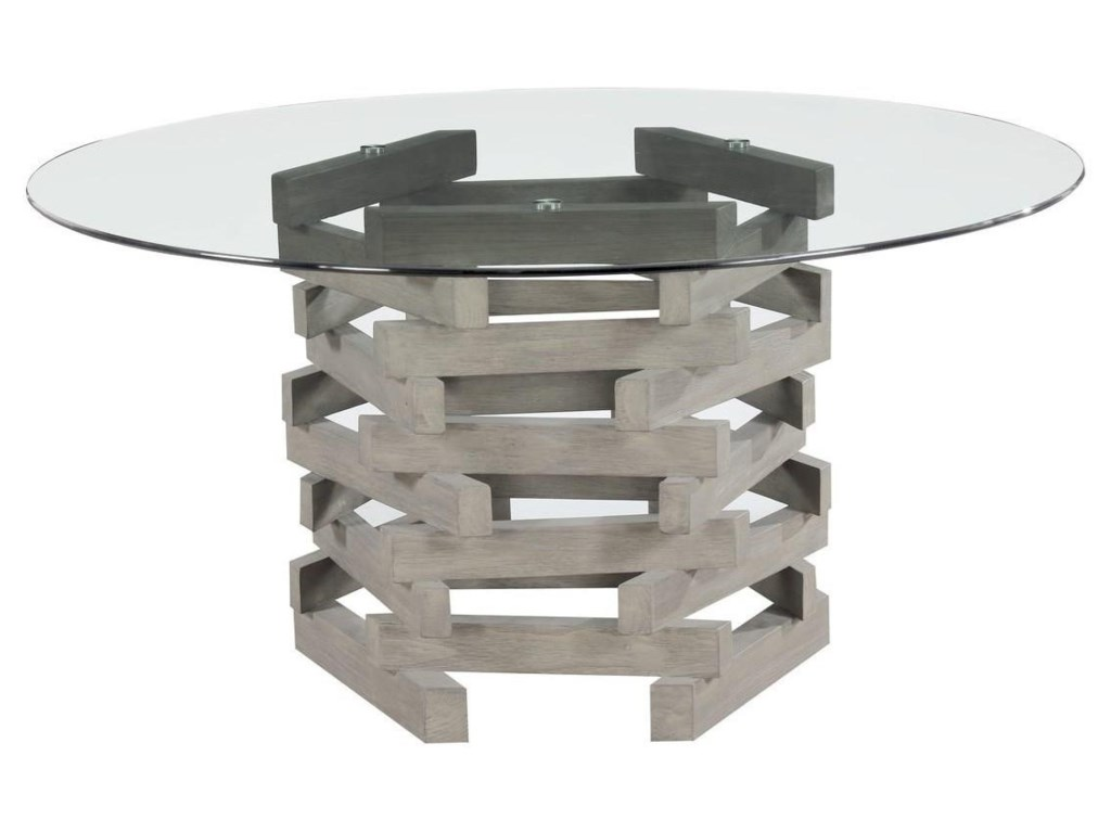 Jenga Contemporary Rustic Round Dining Table with Glass Top by Emerald at  Northeast Factory Direct