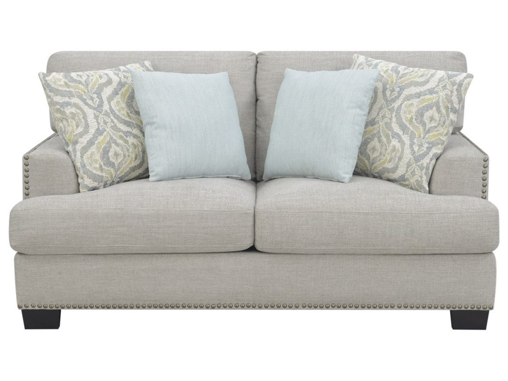 Kinsley Contemporary Loveseat with Nailhead Trim by Emerald at Wilcox  Furniture