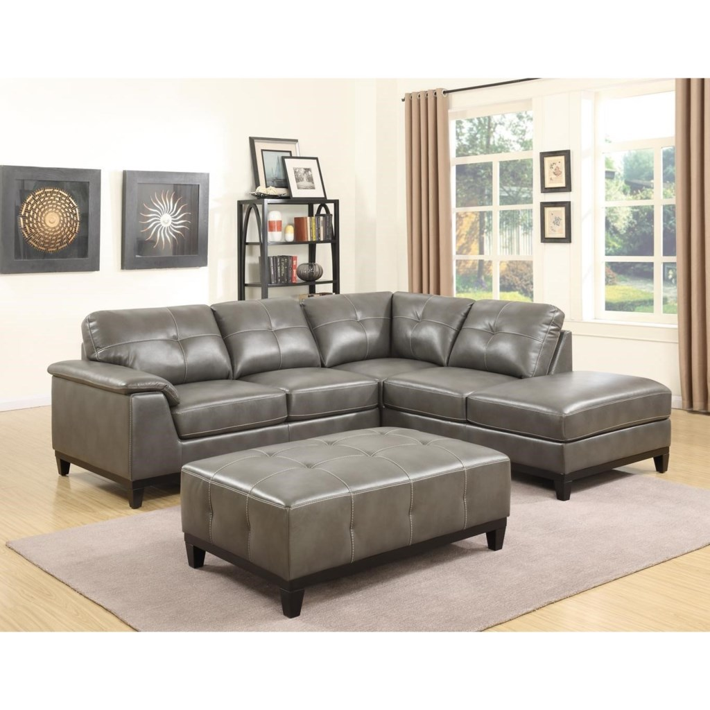 Emerald Marquis 3 Piece Sectional And Ottoman Set With Tufting