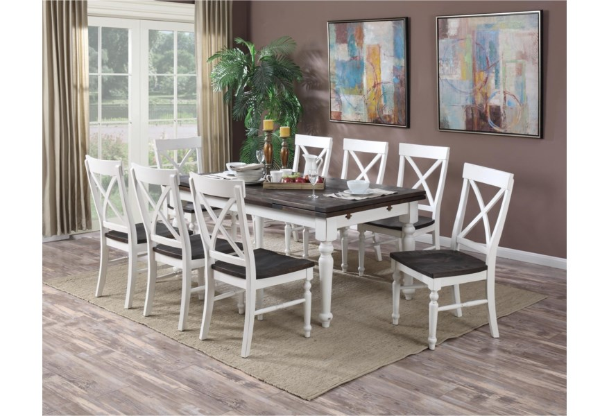 Emerald Mountain Retreat 9 Piece Dining Set With Two Tone Finished Leg Table And X Back Chairs Northeast Factory Direct Dining 7 Or More Piece Sets
