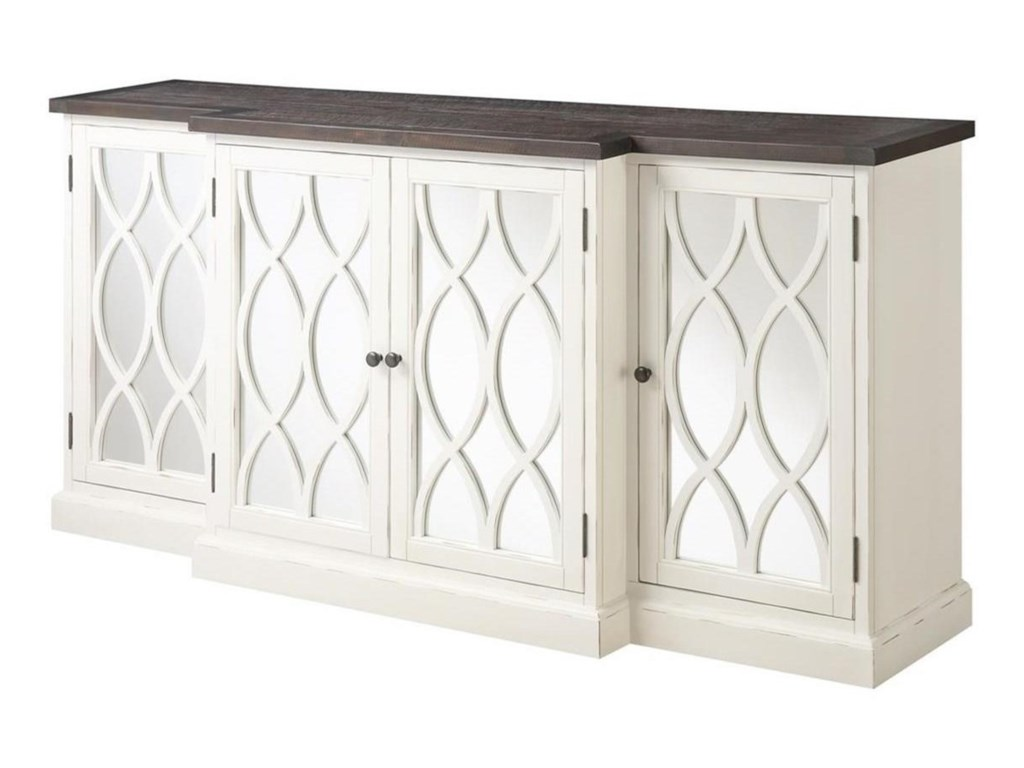 Emerald Mountain Retreat 78 Buffect Storage Cabinet With Mirrored Accents