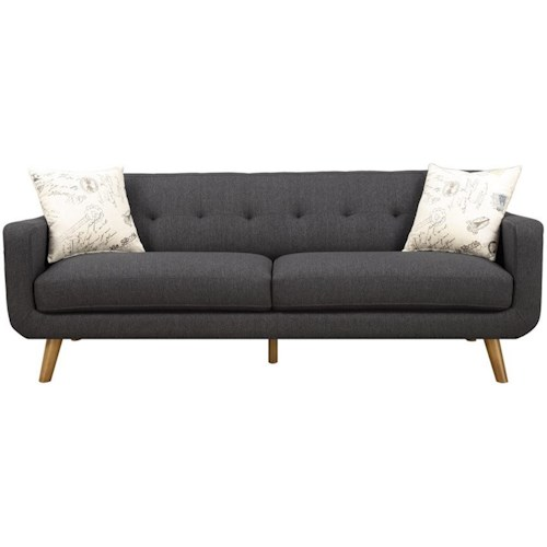 Emerald Remix Tufted Back Contemporary Sofa with 2 Accent Pillows