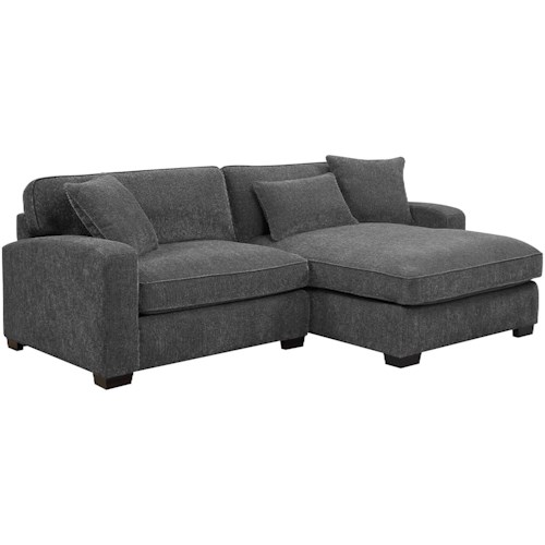 Emerald Repose Casual Two Piece Sectional Sofa With Raf Chaise And 3 Pillows