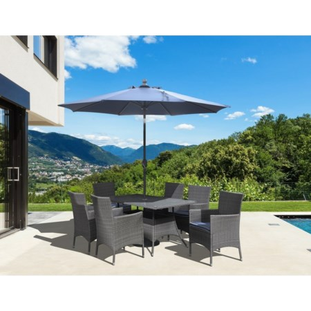 8-Piece Outdoor Dining Set with Umbrella