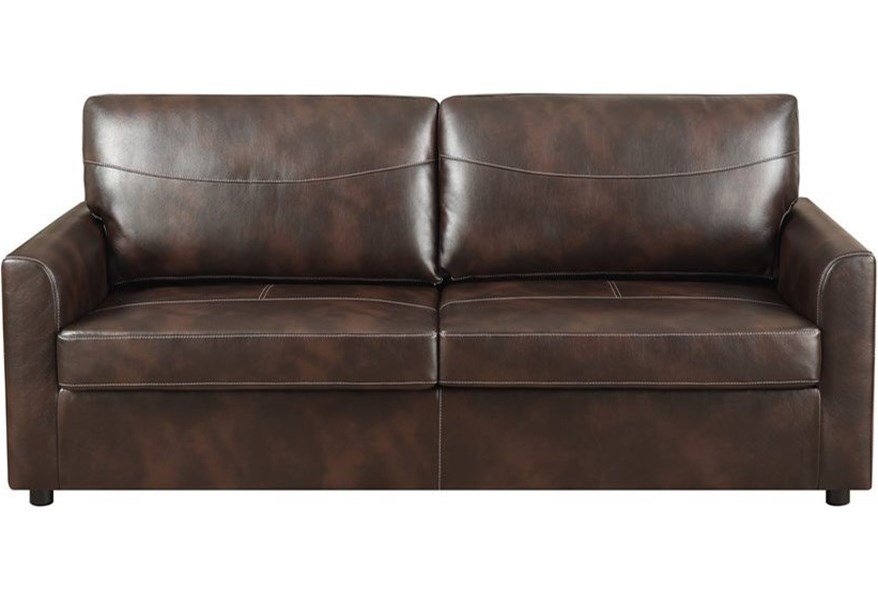 Slumber Faux Leather Queen Sleeper Sofa w/ Gel Foam Mattress by Emerald at  Wilson\'s Furniture