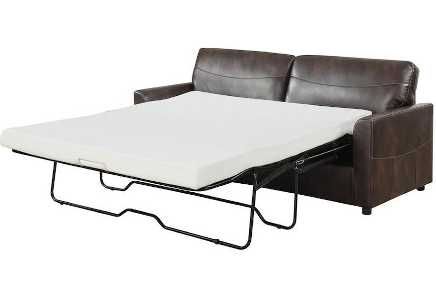 Slumber Faux Leather Queen Sleeper Sofa w/ Gel Foam Mattress by Emerald at  Wilson\'s Furniture