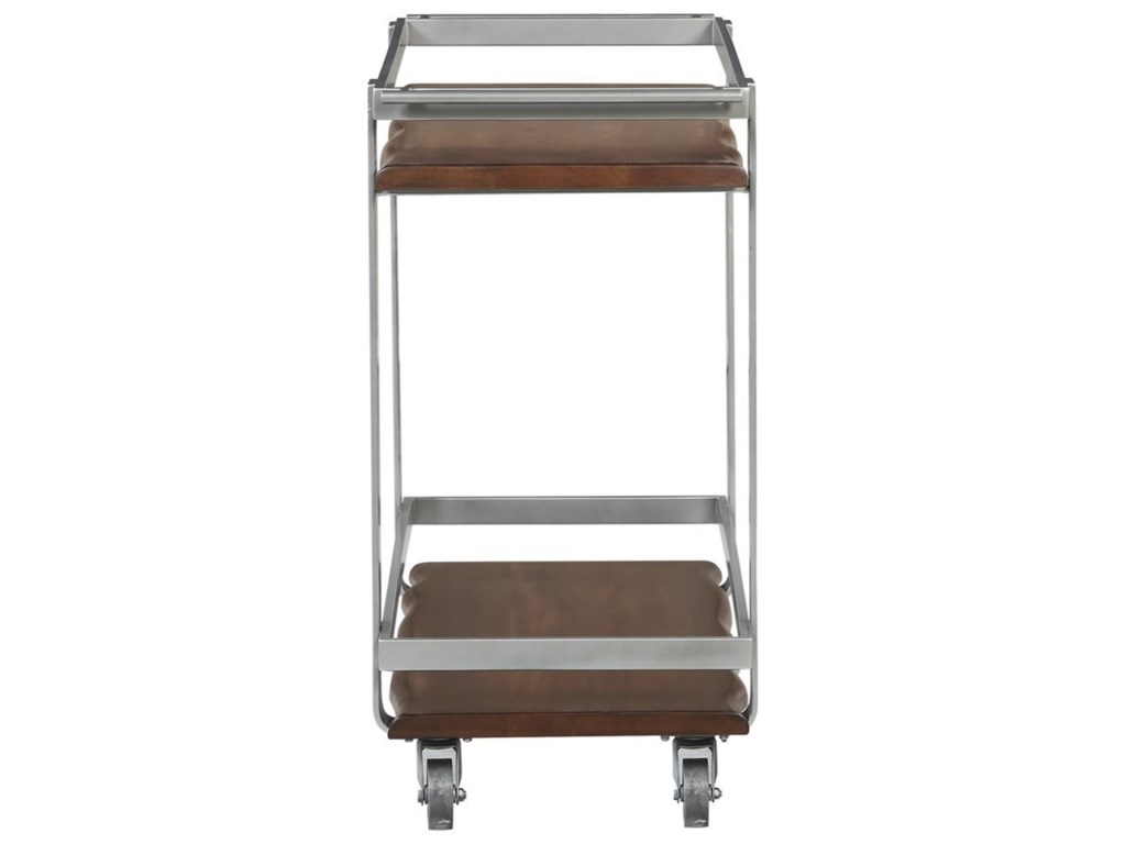 Emerald SommervilleBar Cart w/ Solid Mahogany Shelves