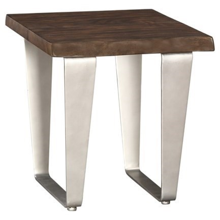 Contemporary End Table w/ Live Edge Solid Mahogany Top and Metal Legs