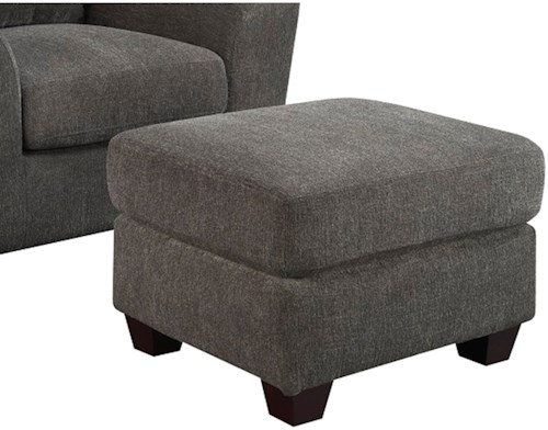 Emerald Urbana Ottoman with Solid Wood Legs