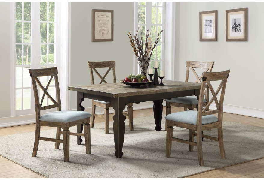 Emerald Valencia Transitional Dining Table With 24 Leaf Wilson S Furniture Dining Tables