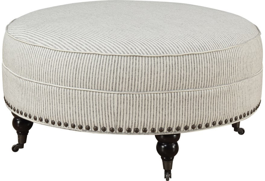 Emerald Willow Creek Traditional Round Cocktail Ottoman With Nail