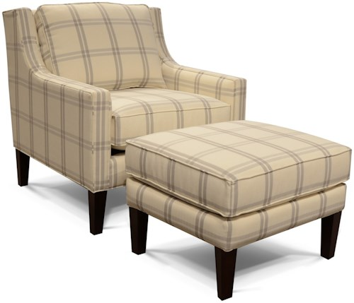England 1884 and 1887 Chair and Ottoman with Rectangle Shape
