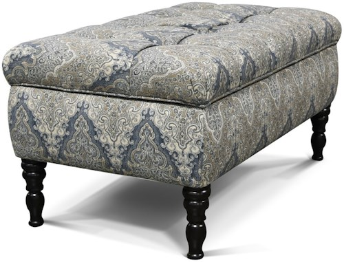 England Julia Transitional Storage Ottoman with Tufted Top
