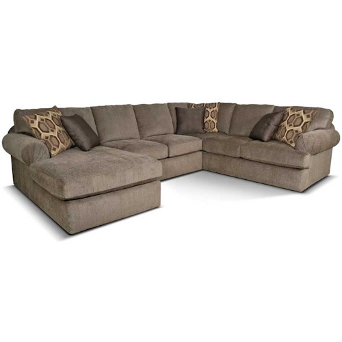 England Abbie Left Chaise Sectional Sofa with Large Cushions