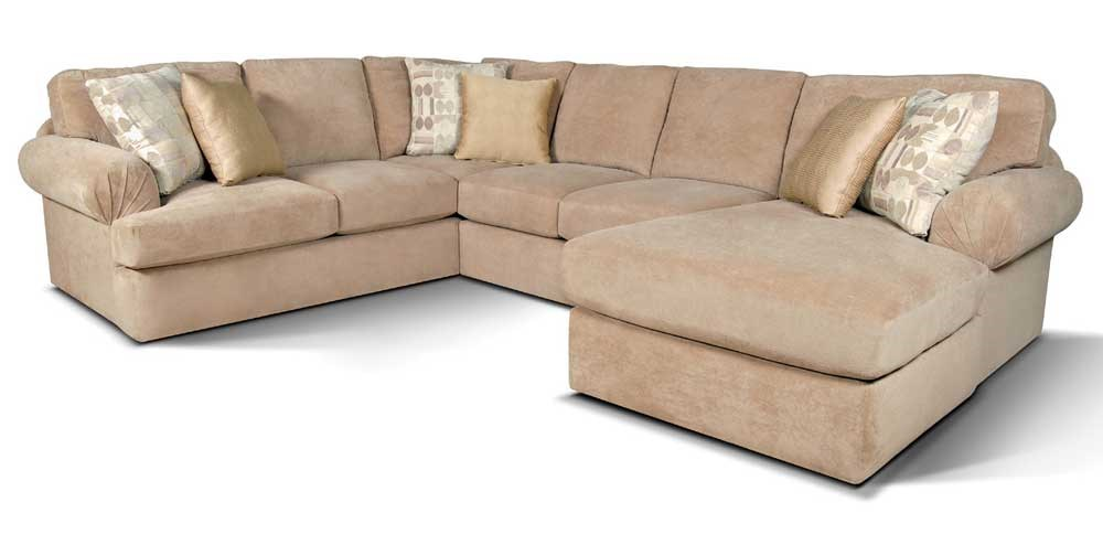 England Abbie Right Chaise Sectional Sofa with Large Cushions  sc 1 st  EFO Furniture : england sectional sofa - Sectionals, Sofas & Couches