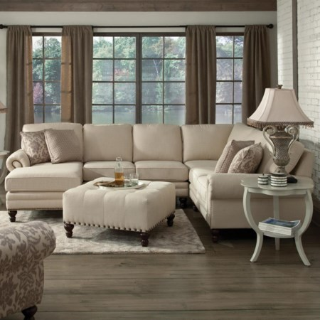 Six Seat Sectional with Left Chaise