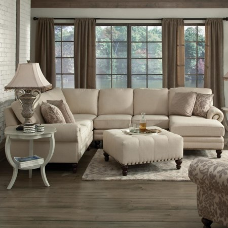 Six Seat Sectional with Right Chaise