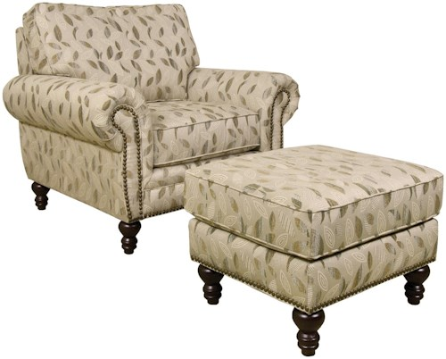 England Amix  Traditional Styled Chair and Ottoman