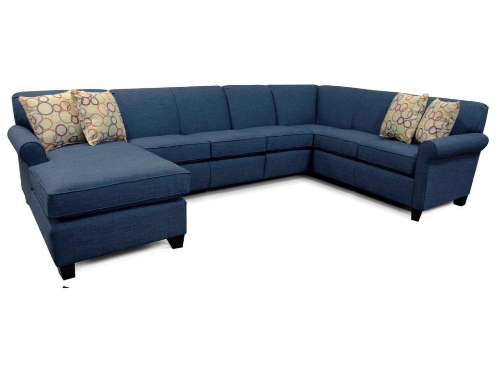 Angie Sectional Sofa with 6 Seats and Chaise by England at Novello Home  Furnishings