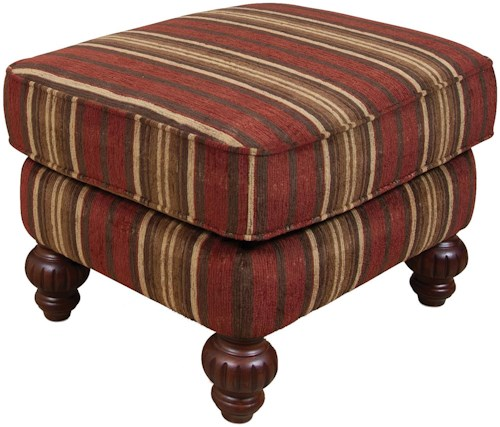 England Bill Transitional Cottage Ottoman with Decorative Wood Feet