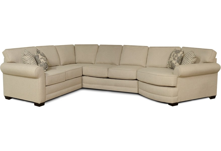 Brantley 5 Seat Sectional Sofa with Cuddler by England at Dunk & Bright  Furniture