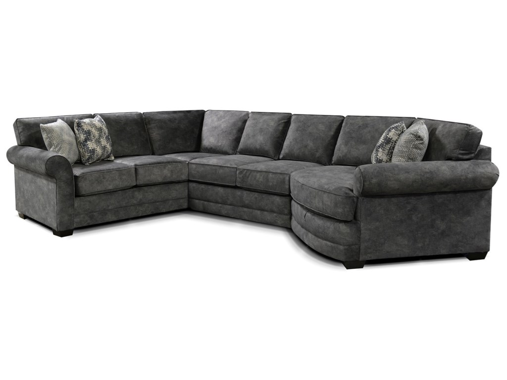 England Brantley 5630-SECT 5 Seat Sectional Sofa with Cuddler ...