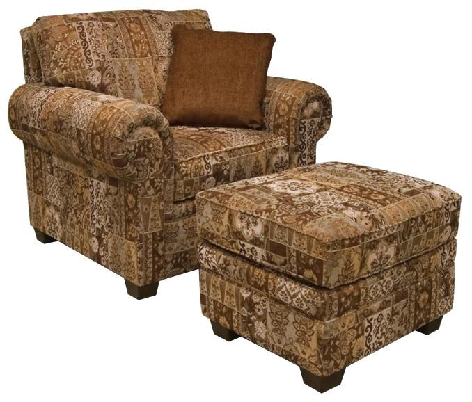 Rolled Arm Chair & Ottoman with Welt Cords & Exposed Block Legs