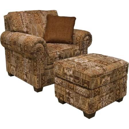 Rolled Arm Chair & Ottoman