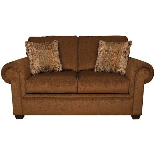 England Brett Rolled Arm Loveseat with Exposed Block Legs