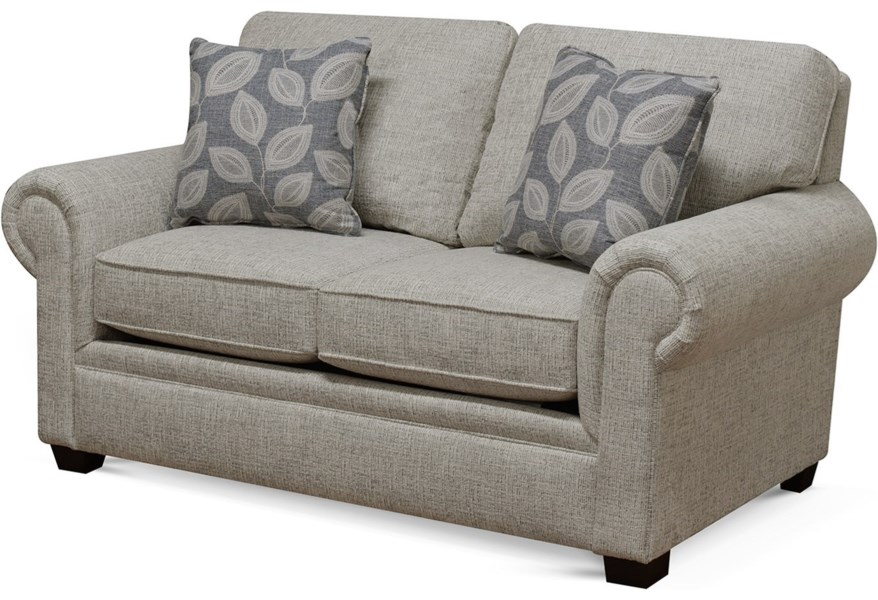 England Brett 2256 Rolled Arm Loveseat With Exposed Block Legs Coconis Furniture Mattress 1st Loveseats