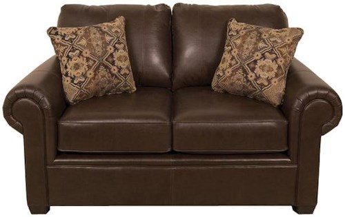 England Linton Leather Loveseat with Casual Furniture Style for Living Rooms