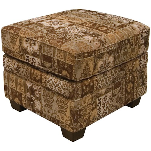 England Brett Welted Ottoman with Exposed Block Legs