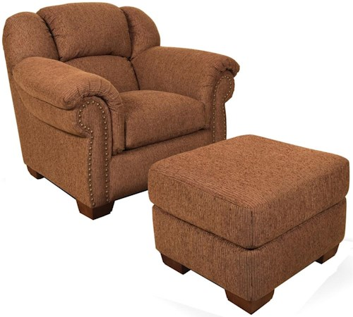 England Bryce Overstuffed Chair With Brass Tacks and Ottoman