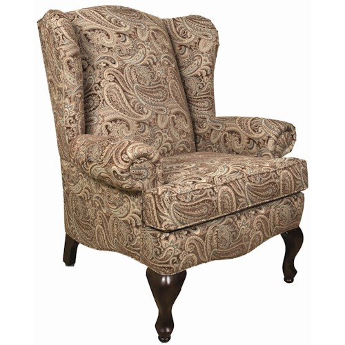 England Colleen Upholstered Wing Chair with Cabriole Legs